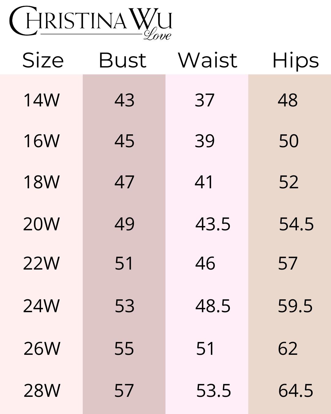 Christina Wu Love size chart